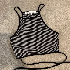 Black and White Striped Crop tie tank